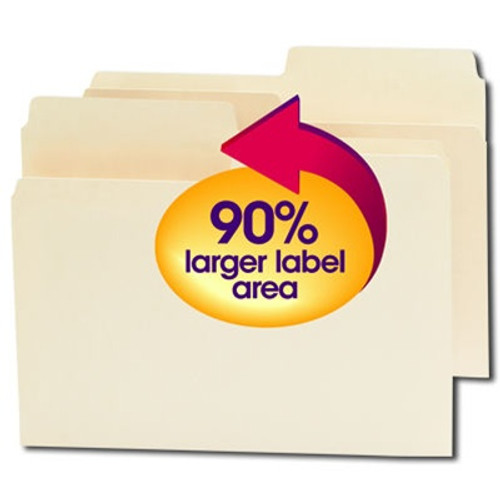 Smead SuperTab File Folder, Oversized 1/2-Cut Tab, Letter Size, Manila, 100 per Box (10106) - 5 Boxes
