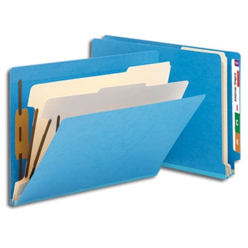 "Smead End Tab Classification File Folder, 2 Divider, 2"" Expansion, Letter Size, Blue, 10 per Box (26836) - 5 Boxes"