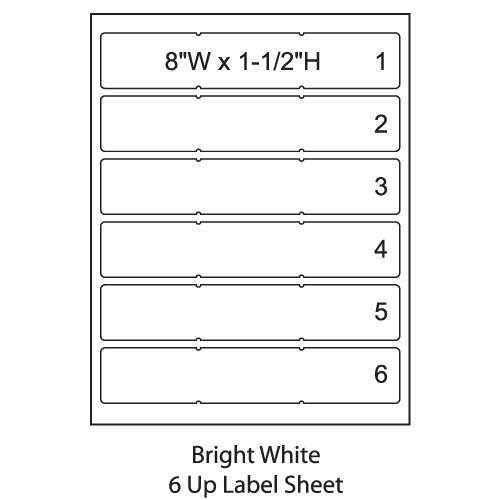 "Smead ColorBar 8"" Bright White Laser Printer Labels - 6 Up Sheet - Pack of 1008"