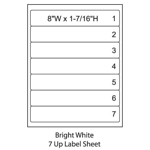 "Smead 2476  ColorBar 8"" Bright White Laser Printer Labels - 7 Up Sheet - Pack of 1008"