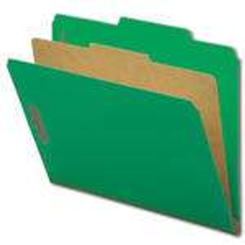 "Smead Pressboard Classification File Folder with SafeSHIELD Fasteners, 1 Divider, 2"" Expansion, Letter Size, Green, 10 per Box (13733)"