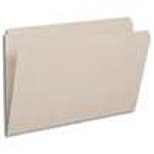 GRAY LEGAL Size Top Tab File Folder With Fastener in Position 1 - Reinforced Straight Cut Tab - 11 Pt. Stock - 50/Box