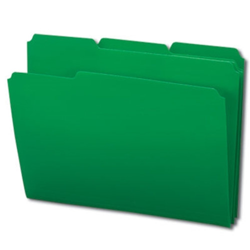 Smead Poly File Folder, 1/3-Cut- Tab Letter Size, Green, 24 per Box (10502)