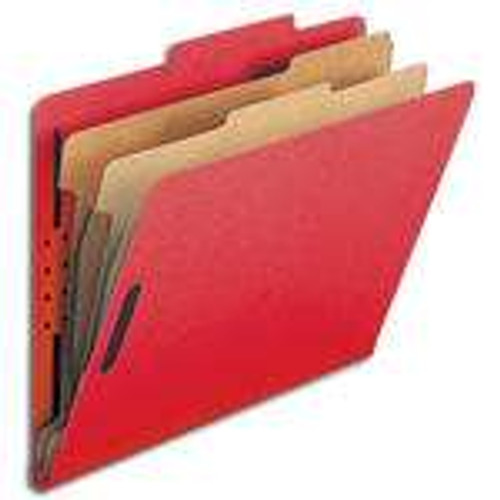 "Smead Pressboard Classification File with SafeSHIELD Fasteners, 2 Dividers, 2"" Expansion, Letter Size, Bright Red (14031)"