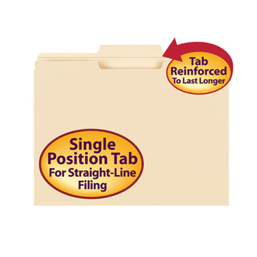 Smead 10336  Top Tab File Folder, Reinforced 1/3-Cut Tab in Center Position Only, Letter Size, 11 Pt. Manila,  Total of 500