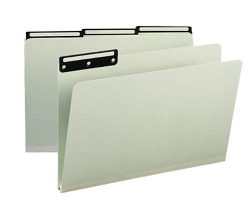 """Smead Pressboard File Folder, 1/3-Cut Tab Flat Metal, 1"""" Expansion, Legal Size, Gray/Green, 25 per Box (18430)"""