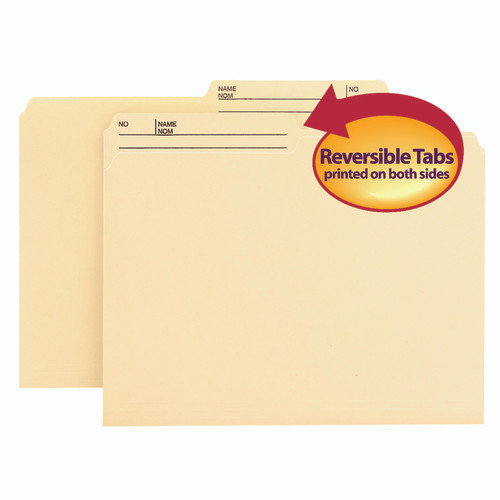 Smead Reversible File Folder, 1/2-Cut Printed Right Tab, Letter Size, Manila 100 per Box (10145)