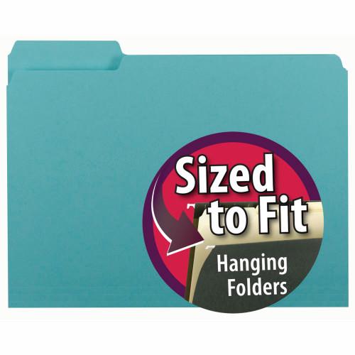 Smead Interior File Folder, 1/3-Cut Tab, Letter Size, Aqua, 100 per Box (10235)