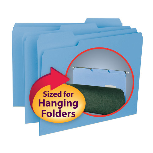 Smead Interior File Folder, 1/3-Cut Tab, Letter Size, Blue, 100 per Box (10239)