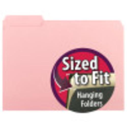 Smead Interior File Folder, 1/3-Cut Tab, Letter Size, Pink, 100 per Box (10263)