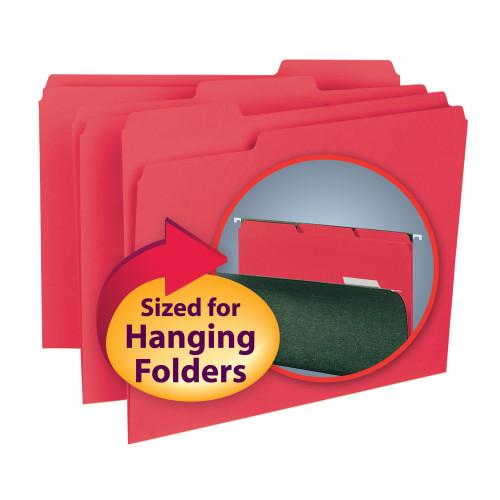 Smead Interior File Folder, 1/3-Cut Tab, Letter Size, Red, 100 per Box (10267)