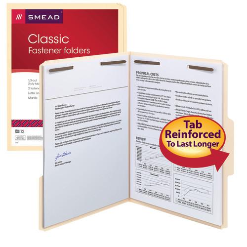 Smead Fastener File Folder, 2 Fasteners, Reinforced 1/3-Cut Tab, Letter Size, Manila, 12 per Pack (11537) - 6 Packs