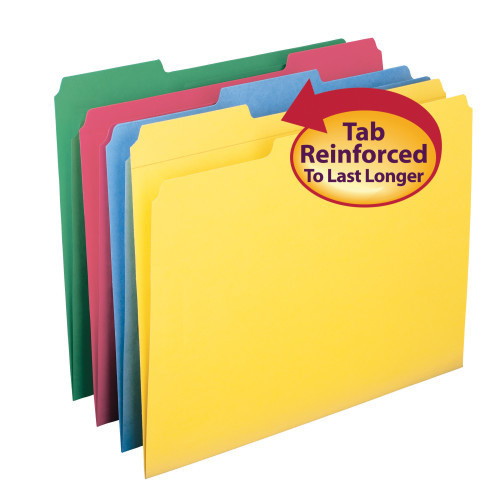 Smead File Folder, Reinforced 1/3-Cut Tab, Letter Size, Assorted Colors, 12 per Pack (11641) - 12 Packs