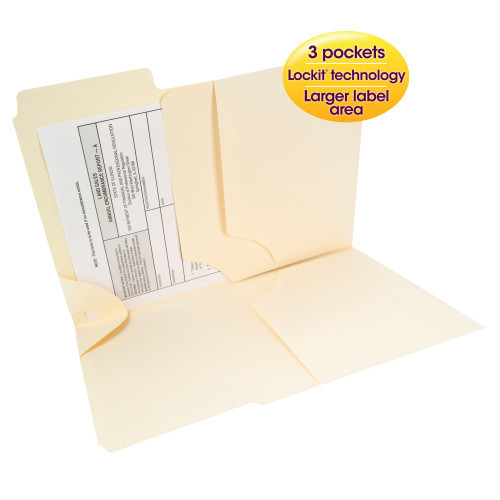 Smead 3-in-1 SuperTab Section Folder, 1/3-Cut Oversized Tab, Letter Size, Manila, 12 per Pack (11904) - 10 Packs