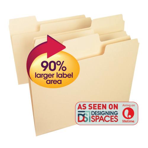 Smead SuperTab File Folder, Oversized 1/3-Cut Tab, Letter Size, Manila, 24 Per Box (11920) - 10 Packs