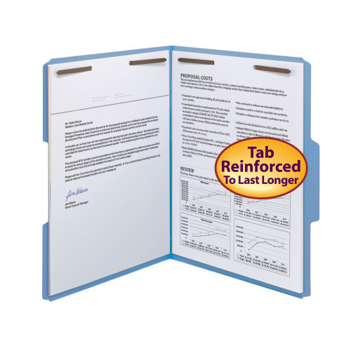 Smead WaterShedCutLess Fastener File Folder, 2 Fasteners, Reinforced 1/3-Cut Tab, Letter Size, Blue, 50 per Box (12042) - 5 Boxes