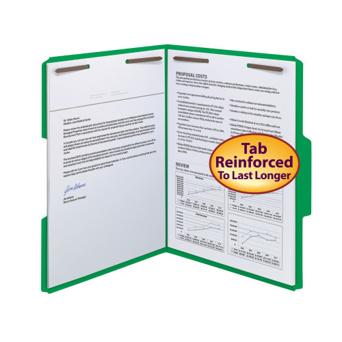 Smead WaterShed/CutLess Fastener Folder, 2 Fasteners, Reinforced 1/3-Cut Tab, Letter Size, Green, 50 per Box (12142) - 5 Boxes
