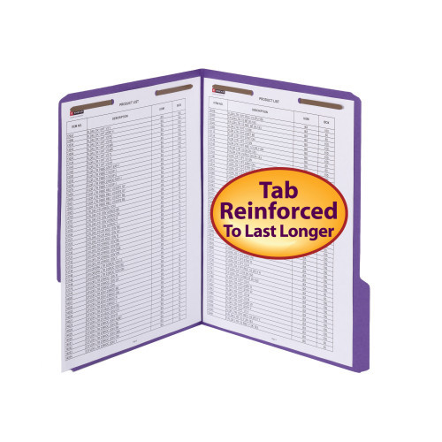 Smead WaterShed/CutLess Fastener File Folder, 2 Fasteners, Reinforced 1/3-Cut Tab, Letter Size, Purple, 50 per box (12442) - 5 Boxes