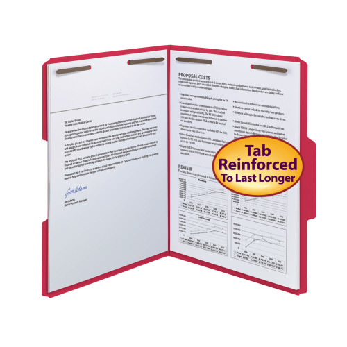 Smead WaterShed/CutLess Fastener File Folder, 2 Fasteners, Reinforced 1/3-Cut Tab, Letter Size, Red, 50 per Box (12742) - 5 Boxes