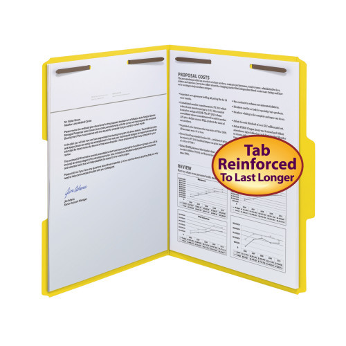 Smead WaterShed/CutLess Fastener File Folder, 2 Fasteners, Reinforced 1/3-Cut Tab, Letter Size, Yellow, 50 per Box (12942) - 5 Boxes