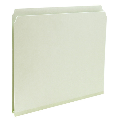 "Smead Pressboard File Folder, Straight-Cut Tab, 1"" Expansion, Letter Size, Gray/Green, 25 per Box (13200)"