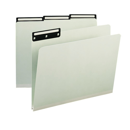 "Smead Pressboard File Folder, 1/3-Cut Tab Flat Metal, 1"" Expansion, Letter Size, Gray/Green, 25 per Box (13430)"