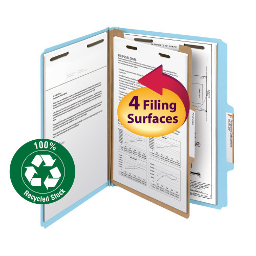 """Smead 100% Recycled Pressboard Classification File Folder, 1 Divider, 2"""" Expansion, Letter Size, Blue, 10 per Box (13721)"""