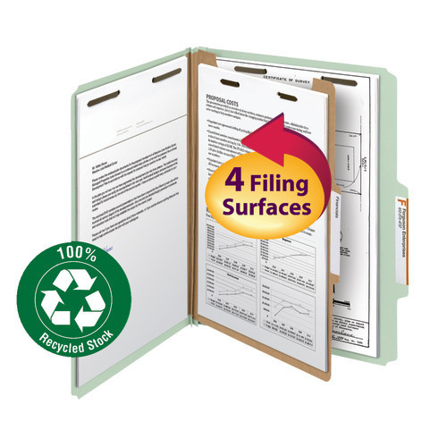 """Smead 100% Recycled Pressboard Classification File Folder, 1 Divider, 2"""" Expansion, Letter Size, Gray/Green, 10 per Box (13723)"""