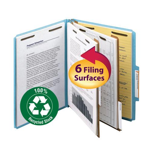 Classification File Folder 2 Divider 2 Expansion Letter Size Blue 10 per Box