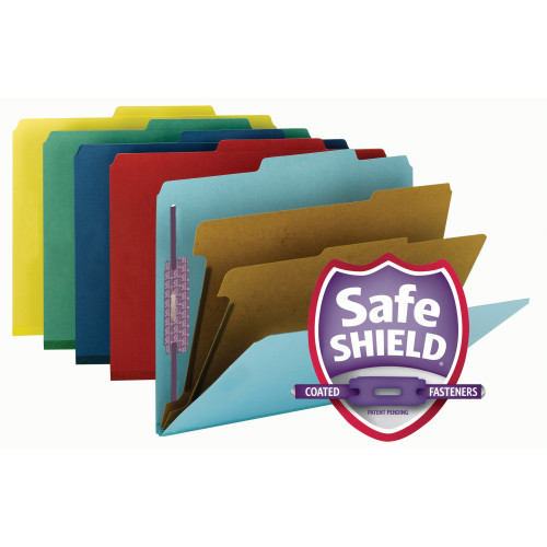 "Smead Pressboard Classification File Folder with SafeSHIELD Fasteners, 2 Dividers, 2"" Expansion, Letter Size, Assorted Colors (14025)"