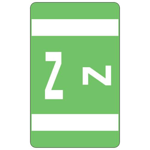 Smead AlphaZ ACCS Color-Coded Alphabetic Label, Z, Light Green, 100 labels per Pack (67196) - 5 Packs