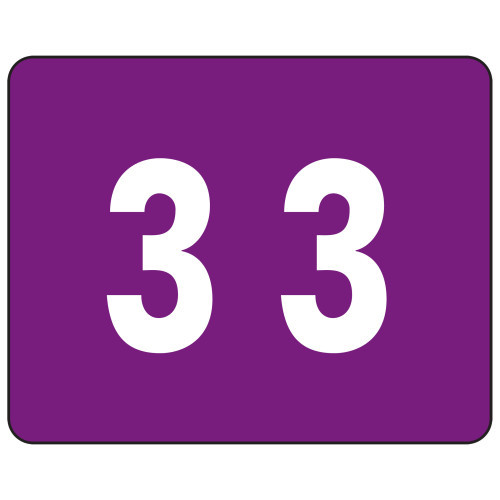 Smead TTS Color-Coded Numeric Label, 3, Label Sheet, Purple, 500 per Roll (67343)