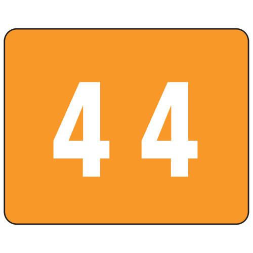 Smead TTS Color-Coded Numeric Label, 4, Label Sheet, Orange, 500 per Roll (67344)