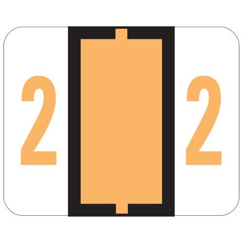 Smead BCCRN Bar-Style Color-Coded Numeric Label, 2, Label Roll, Light Orange, 500 labels per Roll (67372)