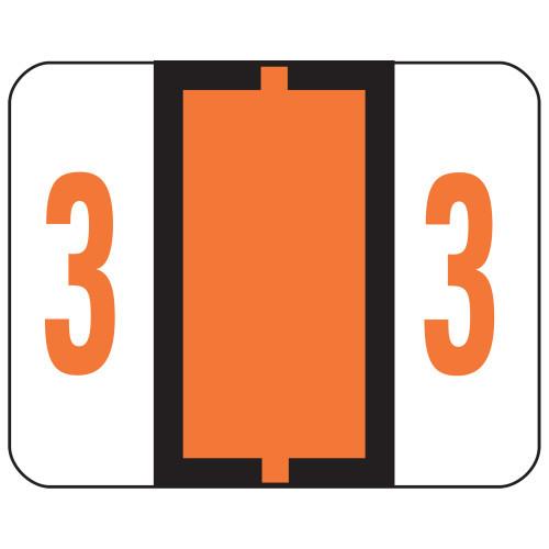 Smead BCCRN Bar-Style Color-Coded Numeric Label, 3, Label Roll, Dark Orange, 500 labels per Roll (67373)