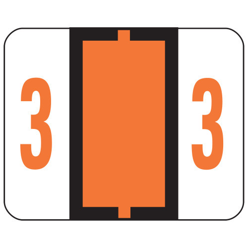 Smead BCCRN Bar-Style Color-Coded Numeric Label, 3, Label Roll, Dark Orange, 500 labels per Roll (67373)