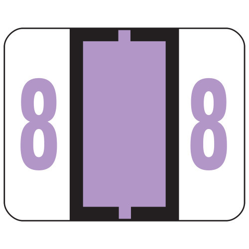 Smead BCCRN Bar-Style Color-Coded Numeric Label, 8, Label Roll, Lavender, 500 labels per Roll (67378)