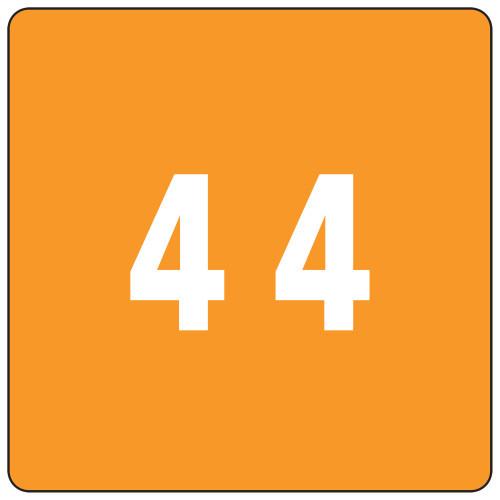 Smead DCC Color-Coded Numeric Label, 4, Label Roll, Orange, 250 labels per Roll (67424)