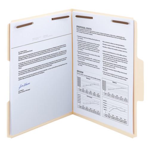 Smead SuperTab Fastener File Folders, 2 Fastener, Oversized Reinforced 1/3- Cut Tab, Letter Size, Manila (14535)