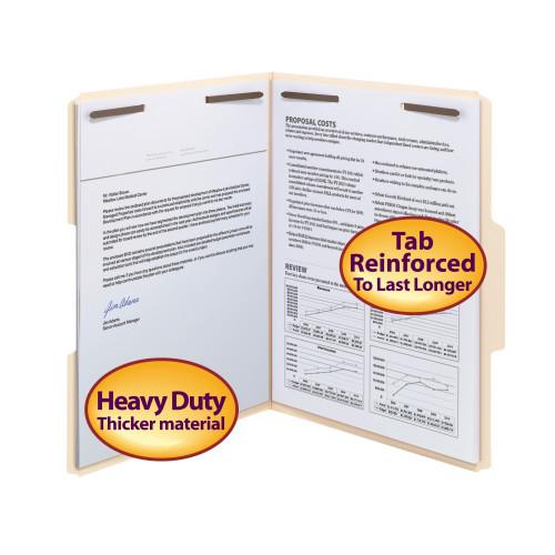 Smead Heavy-Duty Fastener File Folder, 2 Fasteners, 1/3-Cut Tab, Letter Size, 18pt.  Manila, 50 per Box (14600)