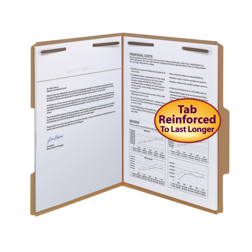 Smead Fastener File Folder, 2 Fasteners, Reinforced 2/5 -Cut Tab Right of Center Position, Letter Size, Kraft, 50 per Box (14880) - 5 Boxes