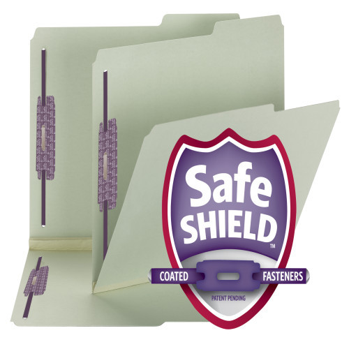 "Smead Pressboard File Folder with SafeSHIELD Fasteners, 2 Fasteners, 2/5-Cut Tab Right Position, 2"" Expansion,  Gray/Green (14920) - Total of 5 Boxes - 25 per Box"