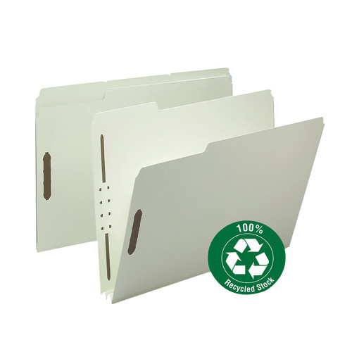 "Smead 100% Recycled Pressboard Fastener File Folder, 1/3-Cut Tab, 2"" Expansion, Letter Size, Gray/Green, 25 per Box (15004)"