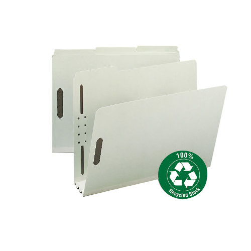 """Smead 100% Recycled Pressboard Fastener File Folder, 1/3-Cut Tab, 3"""" Expansion, Letter Size, Gray/Green, 25 per Box (15005)"""