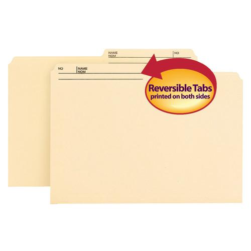 Smead Reversible File Folder, 1/2-Cut Right Printed Tab, Legal Size,  Manila, 100 per Box (15145)