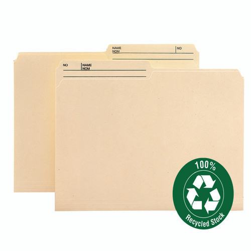 Smead 100% Recycled Reversible File Folder, 1/2-Cut Right Printed Tab, Legal Size, Manila, 100 per Box (15329)