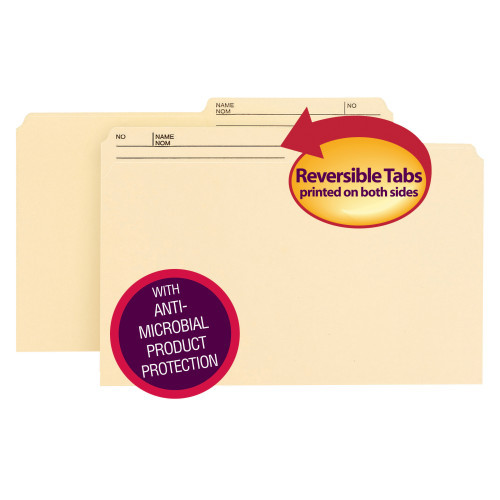 Smead Reversible File Folder with Antimicrobial Product Protection, 1/2-Cut Printed Tab, Legal Size, Manila, 100 per Box (15377)