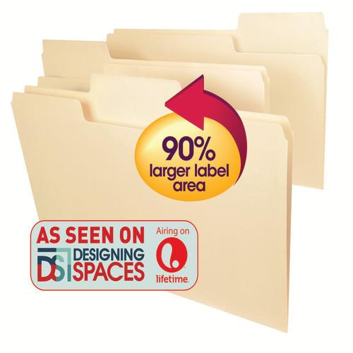 Smead SuperTab Heavyweight File Folder, Oversized  1/3-Cut Tab, Legal Size, Manila, 50 Per Box (15401)