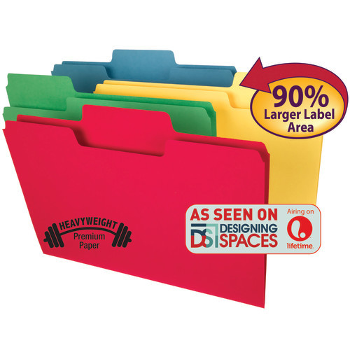 Smead SuperTab Heavyweight File Folder, Oversized  1/3-Cut Tab, Legal Size, Assorted Colors, 50 Per Box (15401) - 5 Boxes