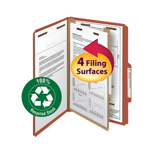 """Smead 100% Recycled Pressboard Classification File Folder, 1 Divider, 2"""" Expansion, Legal Size, Red, 10 per Box (18723)"""